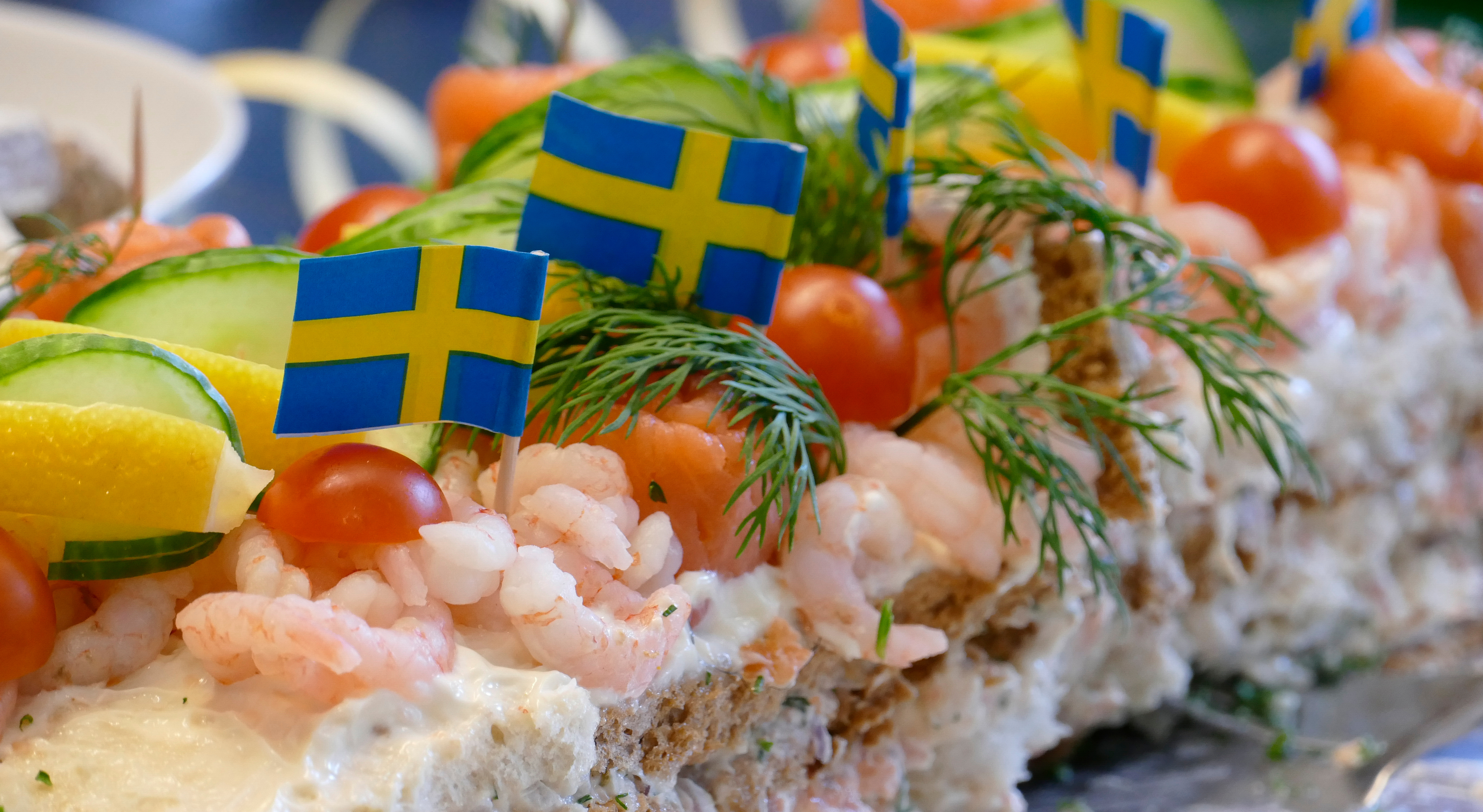 Stockholm,,Sweden,A,Smorgastarta,With,Shrimp,And,Salmon.,Literally,A